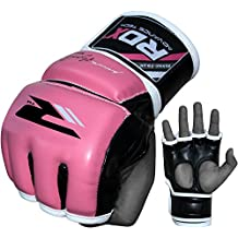 RDX MMA Gloves Women Grappling Martial Arts Punching Sparring Bag Ladies Cage Fighting Maya Hide Leather Mitts Girls UFC Combat Training