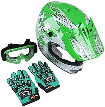Amazon Com Tct Mt Dot Helmet Goggles Gloves Youth Kids Green Flame Dirt Bike Helmet Atv Motocross Offroad Helmets Goggles Gloves Medium Automotive