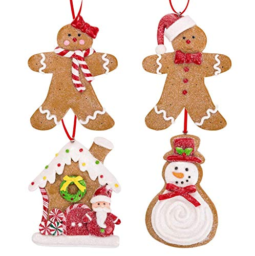 Gingerbread Christmas Ornaments - Man Boy Girl Gingerbread House Snowman Cookie Rustic Christmas Decorations Set of 4 - Claydough Christmas Tree Decorations - Christmas Tree Ornaments With Gift Box ()