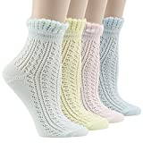 Lace Ruffle Anklet Socks, Socks Daze Womens Vintage Summer Elegant Cotton Frilly Ankle Socks 4 Pairs