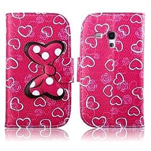 WQQ corazones de color rosa patrón de cuero de la PU caso de cuerpo completo oscuro con soporte para mini i8190 de Samsung S3