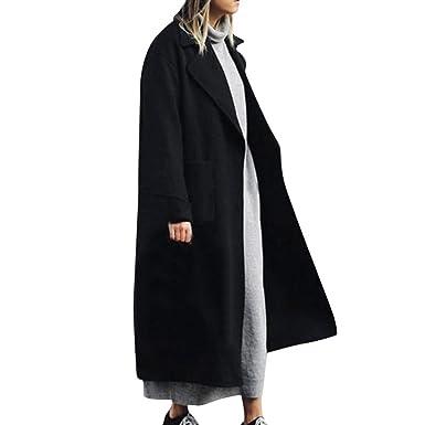 premier taux 461b8 211f8 Parka Veste Classique Femme Manteaux en Laine DéContracté Trench Coat Long  à La Mode Blouson Jacket Slim Fit Automne Hiver Overcoat