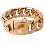 Stainless Steel Training Chain Pitbull Pet Dog Choke Collar, 30mm Wide, 680 lbs, 25.59Inch, Gold