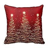 Naladoo Merry Christmas Pillow Case Gifts under Christmas Tree Xmas Cushion Cover Merry Chritmas Home Decor Design Red Throw Pillow Cover Pillow Case 18 x 18 Inch Cotton Linen for Sofa Bed Home (02)