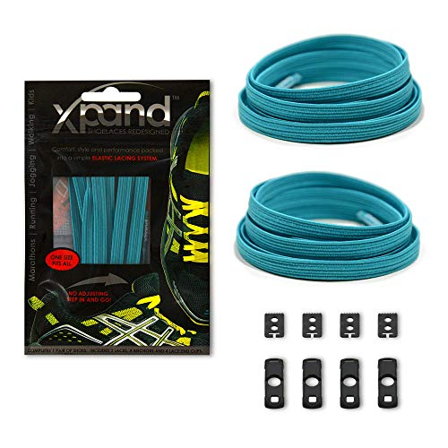 Xpand No Tie Shoelaces System with Elastic Laces - Teal - One Size Fits All Adult and Kids Shoes