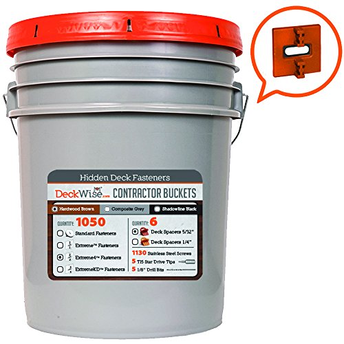 DeckWise Ipe Clip - Extreme 4 Fasteners - 5/32'' Spacing - BROWN CLIPS - 1050 pc Contractor Bucket for 600 Sq. Ft. of Decking - (Includes 8 x 2'' Stainless Steel Screws) by DeckWise