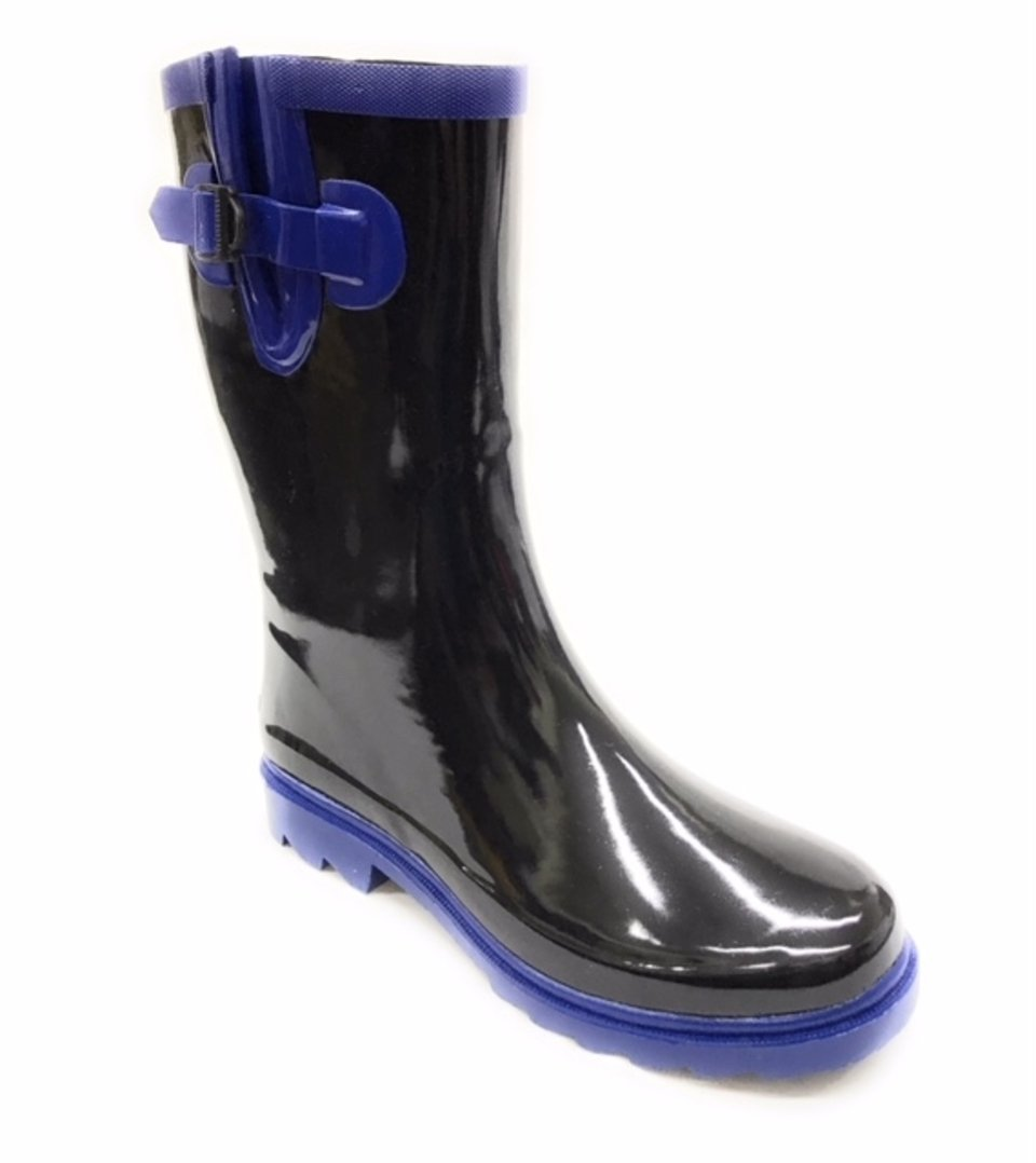 Forever Young Women Mid-Calf Blue/Black Rubber RAIN Boot,7