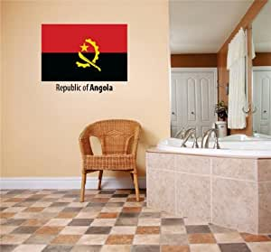 Decals & Stickers : Republic Of Angola Flag Country Pride Symbol Sign / Banner Emblem - Home Decor Boys Girls Dorm Room Bedroom Living Room Peel & Stick Picture Art Graphic Design Car Window Text Lettering Mural - Discounted Sale Price - Size : 10 Inches X 20 Inches - 22 Colors Available