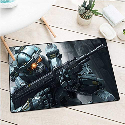 BCVHGD Front Door mat Carpet 925243 Halo Shooter fps Action Fighting Warrior sci fi Futuristic Armor Cyborg Robot Machine Washable Door mat W23.6 x L35.4 Inch