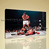 Muhammad Ali Boxing Sonny Liston Sports Single Canvas Wall Art Picture Print Extra Large Wall Art, Gallery Wrapped, by Bo Yi Gallery 36''x24''