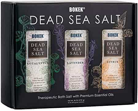 SaltWorks Bokek Scented Dead Sea Salt Gift Set Trio, 3 jars, Lavender/Eucalyptus/Citrus, 32 oz each, 7.5 Pound