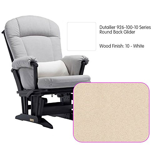 Dutailier 926 Series Round Back Maple Glider in White With Cushion - Back Maple Glider