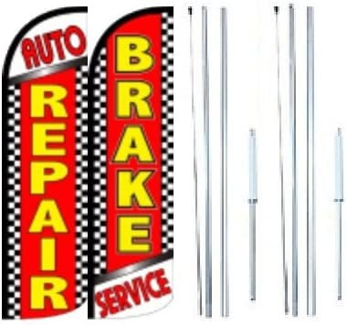 Grand Opening King Swooper Feather Flag Sign Kit with Complete Hybrid Pole Set Auto Repair Pack of 3 Alignment