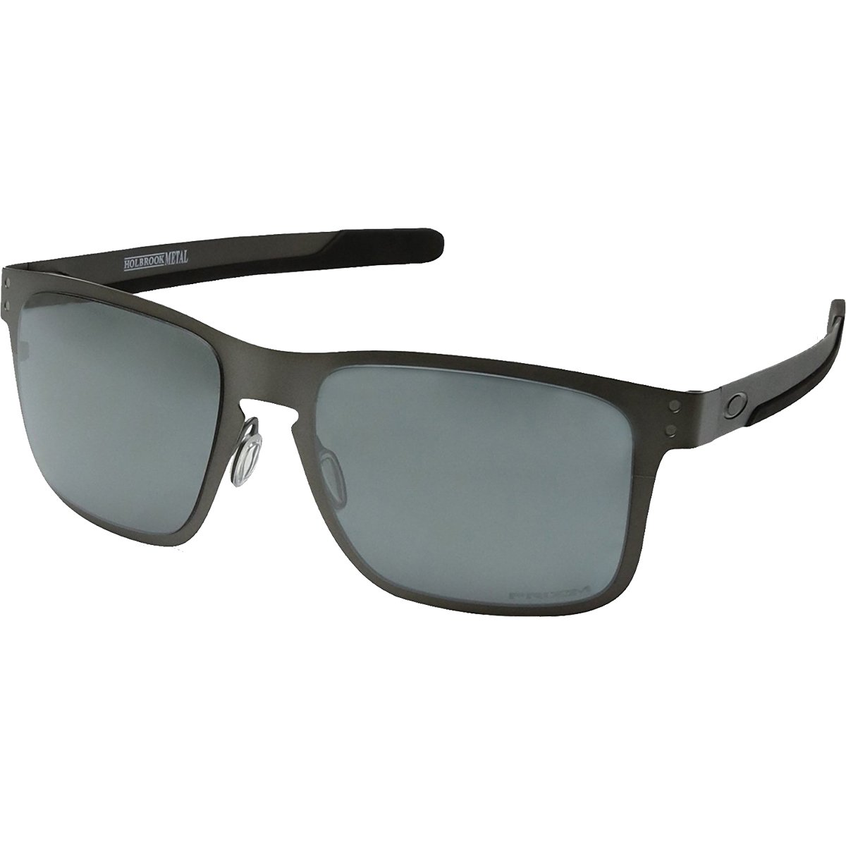 Oakley Men's OO4123 Holbrook Metal Square Sunglasses, Matte Gunmetal/Prizm Black Polarized, 55 mm by Oakley