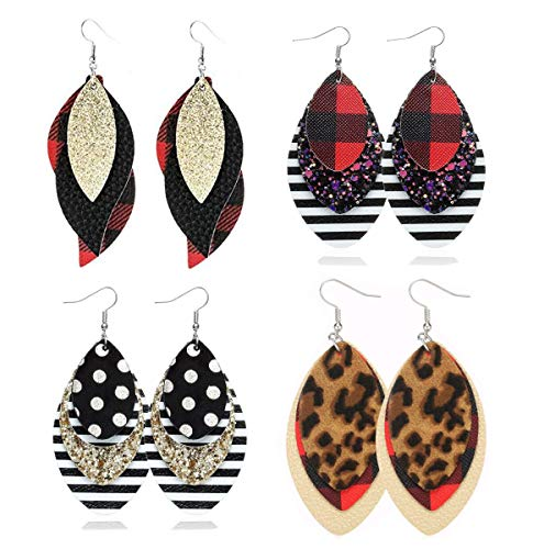 Leather Earrings Layered...