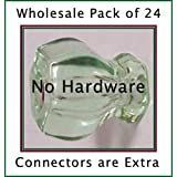 A Wholesale CASE OF 24 Coke Bottle Green KNOB PULLS ONLY-NO CONNECTORS-A PERECT RE-MAUNRACTURE OF THE Early America 1920's Finest Depression Crystal Glass Cabinet Knobs, Sample of connectors are included with ASIN numbers (Coke Bottle Green)