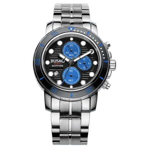 Jiusko 76LSB08 JIUSKO Deep Sea Series Titanium Quartz Chronograph Silver, Blue, Men's Dive Watch