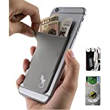 Phone Wallet - Adhesive Card Holder - Cell Phone Pouch - Stick on Lycra Pocket by Gecko - Carry Credit Cards and Cash - RFID Protection Sleeve – GRAY
