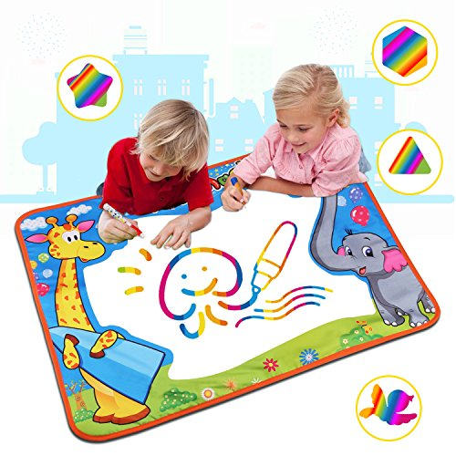 Large Aqua Magic Doodle Mat, Water Doodle Mat,Water Drawing Mat Pad with 2 Water Pens Kids Educational Toys Boys Girls Chrismas Birthday Gift -
