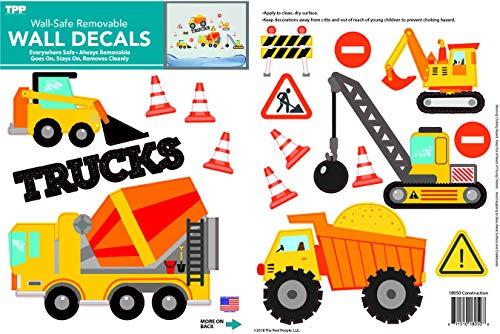 (Construction Vehicles Peel and Stick Wall Decals by The Peel People)