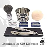 GBS Men's Beard Shaping & Barber Shaving Kit - Gift Box, Stainless Barber Interchangeable Blade Shavette, Pure Bristle Brush, Chrome Bowl + Safety Blades and Soap Perfect Old School Wet Shave