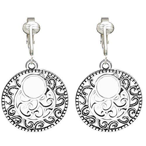 (Silver Filigree Hoops Clip On Earrings for Women & Girls Clip-ons, Silver Unpierced Earrings w Dangle (Filigree)