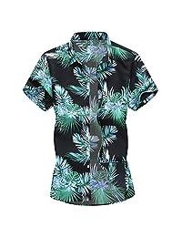 Turn Down Collar Shirts for Men,Fashion Slim Loose Hawaii Printed Short Sleeve T-Shirt Tops