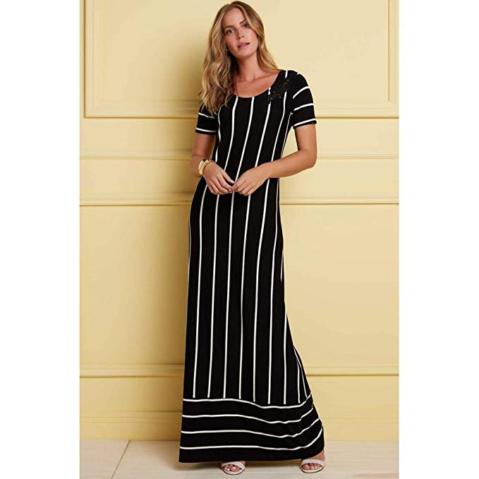 5b42b9bcfada Vestido Longo Listras Verticais: Amazon.com.br: Amazon Moda