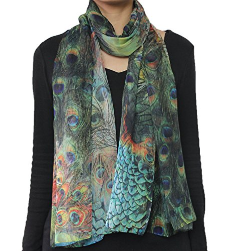 Seamaidmm Fashion Bird Peacock Feather Print Chiffon Scarf Green
