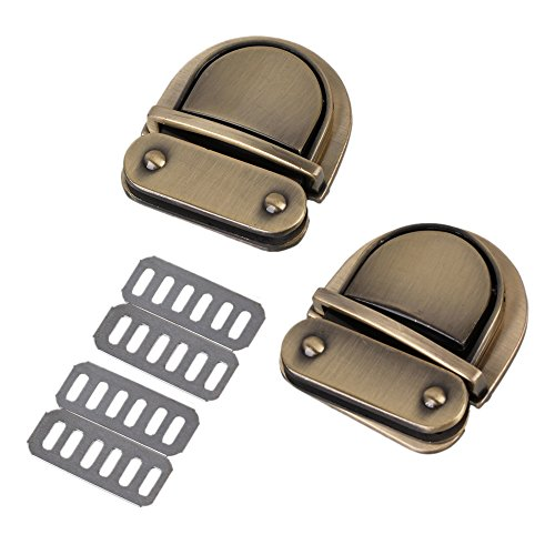 RDEXP Bronze Metal 51 x 32 x 12mm Vintage Buckle Closure Leather Bag Catch Lock Set of 2