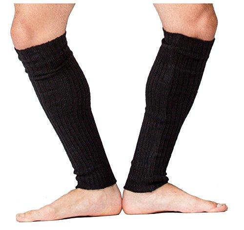 Black Men's Leg Warmers 16 Inch Dance Stretch Knit Ribbed KD dance New York Made In USA Dancewear Loungewear - Warmer Leg Men For