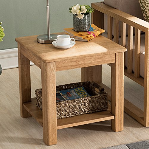 D&L Solid Wood Waterproof Side Table, Square Sofa Table Bedroom Night Table Creativity Coffee Table Modern Simple Telephone Table Storage Rack-Log 50x50cm