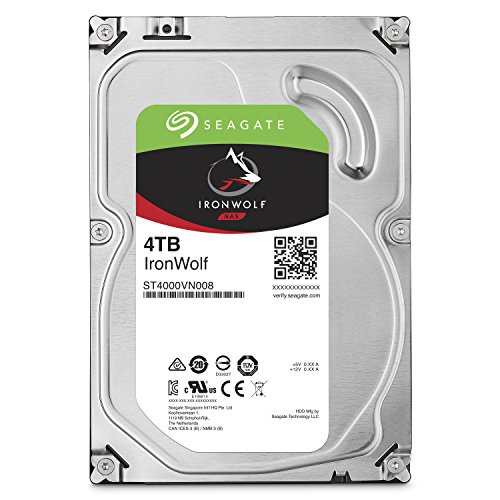 Seagate 4TB IronWolf NAS SATA 6Gb/s NCQ 64MB Cache 3.5-Inch Internal Hard Drive (ST4000VN008) by Seagate