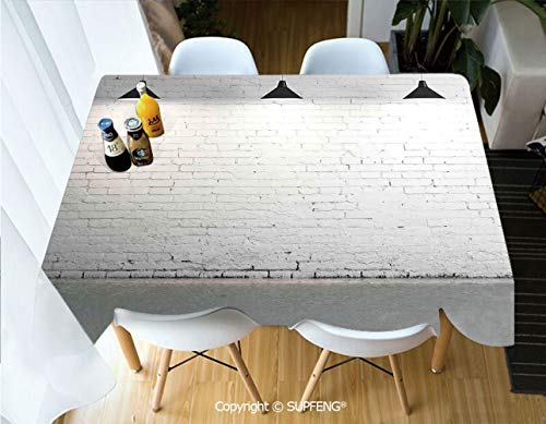 Square tablecloth Brick Concrete Room with Three Ceiling Lamps Modern Minimalistic Home Decoration (60 X 104 inch) Great for Buffet Table, Parties, Holiday Dinner, Wedding & More.Desktop decoration.P