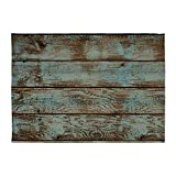 CafePress - Rustic Western Turquoise Barn Wood - Decorative Area Rug, 5'x7' Throw Rug