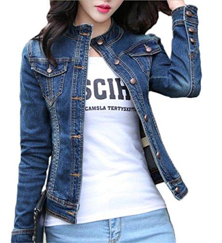 JXG Women Cotton Stretch Stand Collar Button Down Slim Fit Denim Jacket Aspic US XS