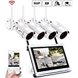 ANRAN Wireless Security Camera System 4CH Video Surveillance System 1080P 12 Inch DVR Monitor, 4pcs IP Network Bullet Camera Outdoor, Remote View by iOS or Android App,No Hard Drive