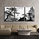 wall26 - 3 Piece Canvas Wall Art - Pine Trees and Mountains - Modern Home Decor Stretched and Framed Ready to Hang - 24