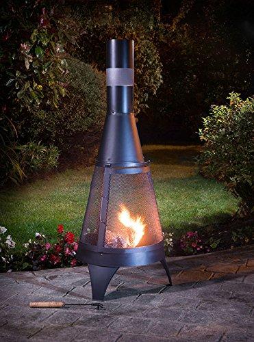 Deluxe chimenea 120cm negro jardín Log quemador completo con Poker 120cm x 45cm Garden