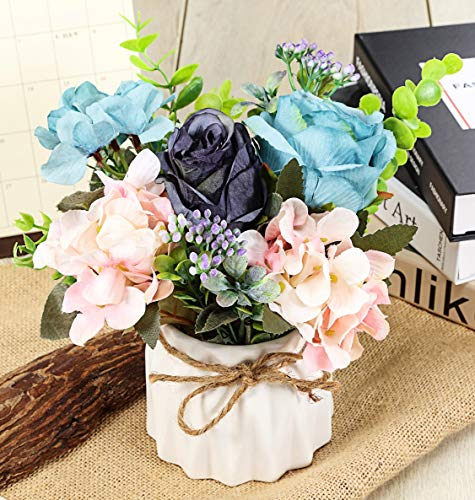 TopSZ Artificial Flowers in Ceramic Vase Sturdy Bottom - Arrangement Wedding Home Party Table -