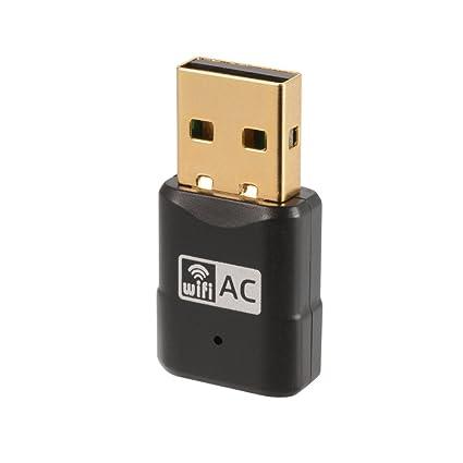XCSOURCE 600Mbps Mini WiFi Adaptador USB inalámbrico Dongle Red LAN 802.11ac Banda Dual 2.4GHz + 5GHz para PC portátil de Escritorio AC829