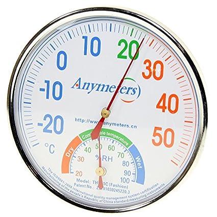 Termómetro - Higrómetro analógico - Pared o Sobremesa - Acero inox. - Esfera blanca -