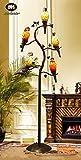 Makenier Vintage Tiffany Style Stained Glass 5-light Parrot Tree Branch Bedroom Living Room Study Floor Lamp