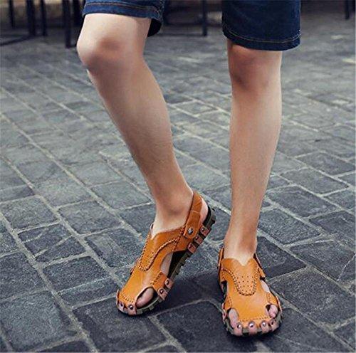 Antideslizantes Cerrados Zuecos Mulas Zapatillas Verano Cierres Zapatos Playa Suaves Eu39 Tamaño De Black Sandalias 43 Con Yellow eu38 38 Cuero Informales A Genuino Chanclas Hombre Nslxie 8TxOYFqOw