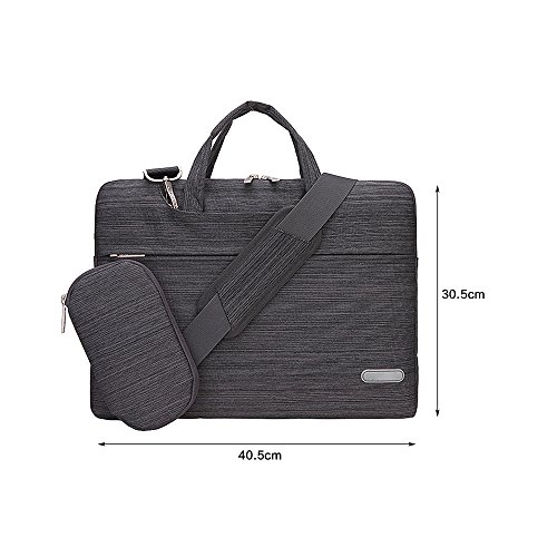 Jia HU 1Leinen Laptop Aktentasche Handtasche Messenger Tasche Tablet Notebook Sleeve für Business Travel hellgrau dunkelrot R4Y32BP