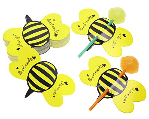 Great Deal! Penta Angel 50Pcs Bee Lollipop Cards Cute Paper Homemade Candy Sweets Holders Decoration...