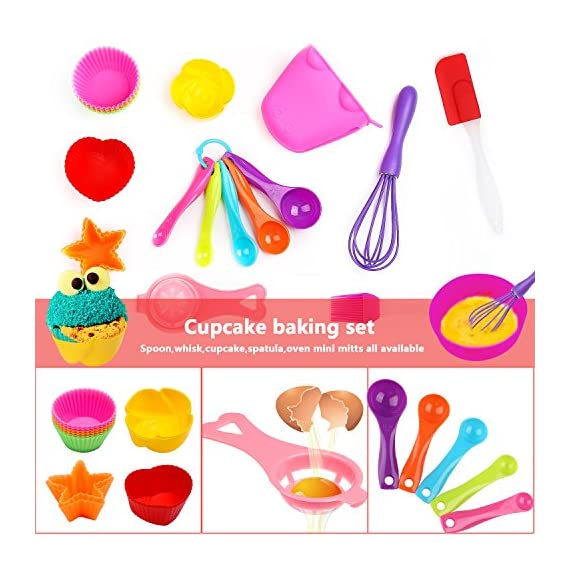 Kids Baking Set Real Cupcake Baking Supplies Silicone Cake Decorating Kit,Perfect for Girls Teens Toddlers Beginners Teenagers 2 SAFE AND EASY TO CLEAN:A Christmas gift hit,fun kids baking kits!Made of high quality food grade silicone material that design to be non-stick and dishwasher safe.These bake set are real baking tools. Recyclable, third-party tested BPA free.cupcake kit safe for children ages 5 and older KIDS REAL COOKING BAKING STARTER SET: These value attractive price baking utensils set including cupcake baking set,baking decorating set,cookie cutters and chocolate molds set PERFECT SIZE AND GIFTS SET:Very cute and vibrant color set and size is perfect for kids starter bakers!Mini cupcake cups Perfect baking supplies for kids.Set is red gift box. gift set for girls and boys who is beginning to cook