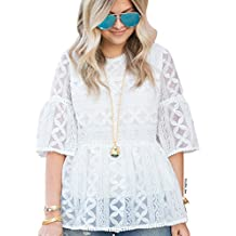 Chicwish Women's White Lace Organza Dolly Shirt Blouse Top with Bell Sleeves