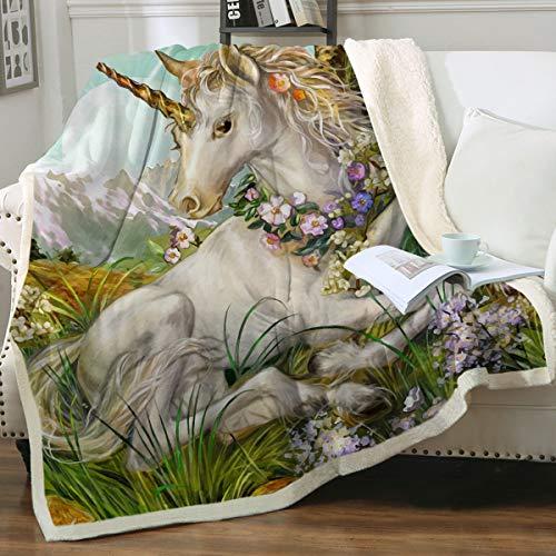Sleepwish Unicorn Blanket Fairytale Horse Green Plant and Flower Print Sherpa Fleece Blanket Soft Blankets for Adults Teen Girls Boys 50x60