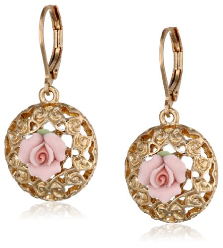 1928 Jewelry Porcelain Rose Collection Gold-Tone Pink-Porcelain Drop Earrings